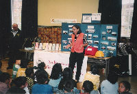 JoAnn speaking with school-age children about the importance of emgergency prepardedness.